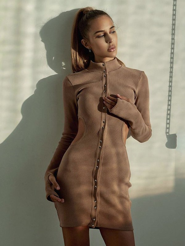 High Neck Single-Breasted Hollow Out Bodycon Dress