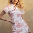 Style Plants Printed Cheongsam Short Sleeve Dress