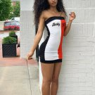 Contrast Color Letter Strapless Bodycon Dress
