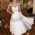 Backless White Strapless Long Evening Dress