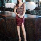 Sequined Gradient Color Split Drill Chain Mini Dress