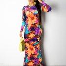 Coloful Hollow Long Sleeve Maxi Dress