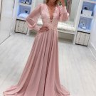 Deep V Neck Embroidery Chiffon Wedding Gowns