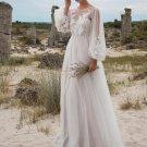 Lantern Sleeve Embroidery White Cheap Wedding Dresses