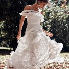 Off Shoulder Ruffled Lace White Maxi Dress