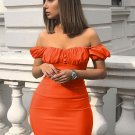 Solid Ruched Short Sleeve Bodycon Dress