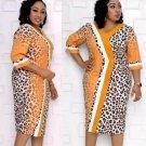 Leopard Short Sleeve Plus Size African Dress