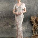Sequined Tassel Backless Fishtail Short Sleeve Formal Dress