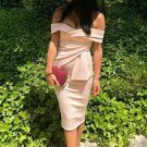 Off The Shoulder Solid Short Sleeve Dress