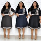 African Striped Fitted Short Sleeve Plus Size Dress