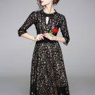 Large Hem Fitted Black Short Sleeve Lace Dress