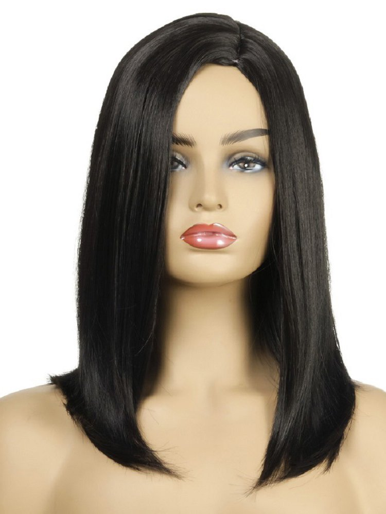 Fashion Side Bang Straight Black Synthetic Wigs For Women