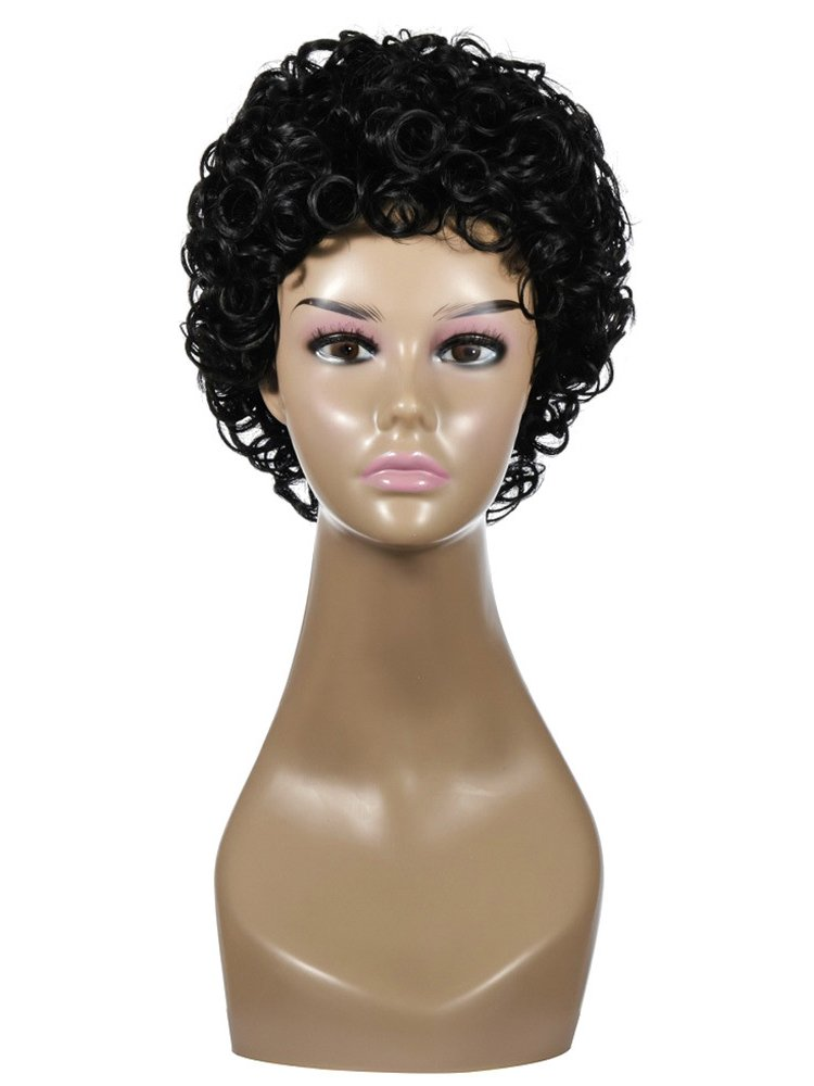 High Temperature Fiber Black Short Curly Synthetic Wigs
