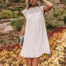 Sweet Loose Lace Patchwork White Dress