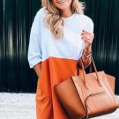 Casual Color Block Half Sleeve Dresses For Women