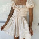 Vintage Style Square Neck Embroidery A-Line Dress