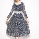 Vintage Style Print Long Sleeve Lace Dress