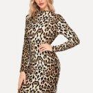 Leopard Ladies Long Sleeve Dress