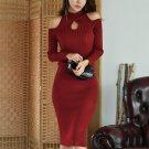 Shoulder Cut Keyhole Long Sleeve Bodycon Dress