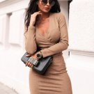 V Neck Solid Long Sleeve Bodycon Dress