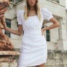 Elegant Slim Fit Women White Short Sleeve Dress