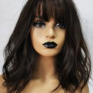 Thin Neat Bang Slightly Curly Brown Short Synthetic Wig