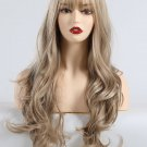 Elegant Neat Bang Light Brown Long Curly Synthetic Wigs