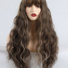 Blend Color Thin Neat Bang High Temperature Long Curly Synthetic Wigs