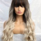 Dark Brown Gradual Change Beige White Neat Bang Long Curly Synthetic Wigs