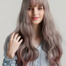 Neat Bang Gradient Color High Temperature Long Wavy Synthetic Wigs