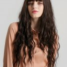 High Temperature Long Brown Curly Synthetic Wigs With Bangs