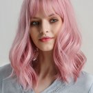 Neat Bang High Temperature Pink Curly Short Synthetic Wigs