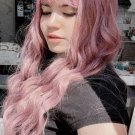 High Temperature Fiber Pink Long Curly Synthetic Wigs With Bangs