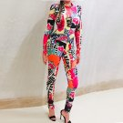 Multicolor Halter Long Sleeve Maxi Printed Flowers African Bodycon Jumpsuit
