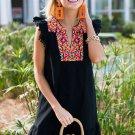 Black Boho Print Pompom Sleeve Shift Dress
