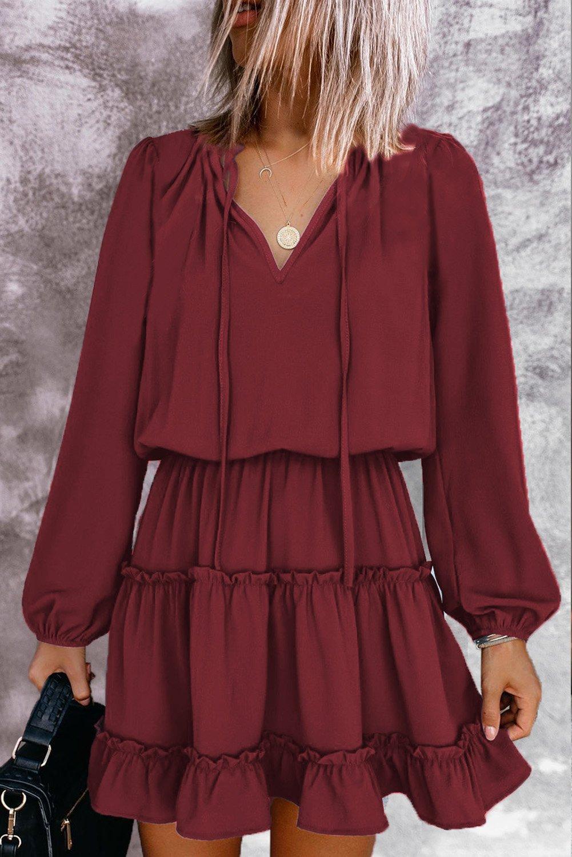 Wine V Neck Long Sleeve Ruffle Tiered Mini Dress