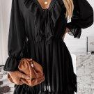 Black Lacy V Neck Ruffled Mini Dress