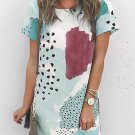 White Leopard Splicing Color Block Mini Dress