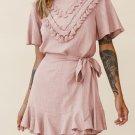 Pink Tassel Bust Wrap Bottom Dress