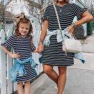 Black Striped T Shirt Mini Dress with Ruffled Sleeves