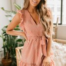 Pink Polka Dot Print Ruffled Mini Dress with Belt