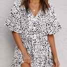 White Leopard V Neck Ruffled Mini Dress with Buttons