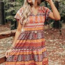 Orange Accent Color Block Bohemian Print Short Sleeve Mini Dress