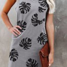 Grey Plant Print V Neck Sleeveless Mini Dress