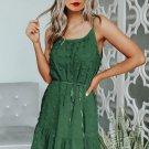 Green Swiss Dot Spaghetti Drawstring Mini Dress