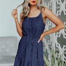 Blue Swiss Dot Spaghetti Drawstring Mini Dress