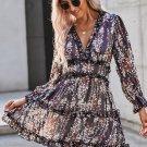 Blue Ruffle Detailing Open Back Floral Dress