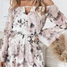 White Off Shoulder Bell Sleeve Floral Dress