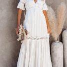 Swiss Dot Lace Trim Maxi Dress