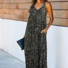 Green Leopard Sleeveless Cut-out Pocketed Maxi Dress